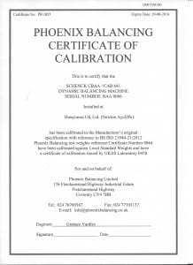 Phoenix Balancing Certificate of Machine Calibration